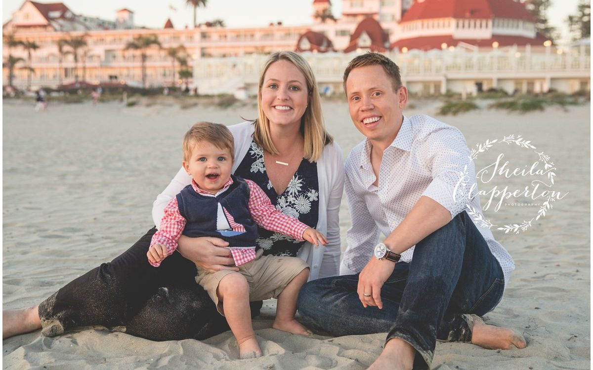 Sweet Georgia Family of Three       Coronado Beach Photography Session  {Hotel Del Coronado Photographer}
